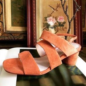 gorman rose suede leather multi strap heel
